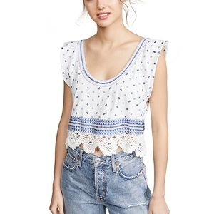 NWT Free People Ivory combo blouse, size M.